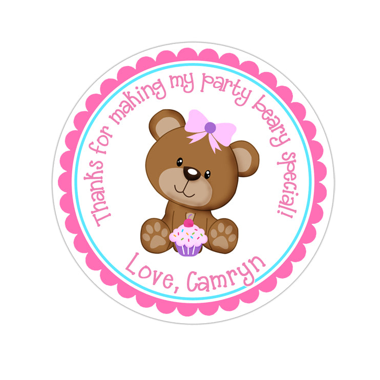 Teddy Bear With Cupcake Personalized Sticker Birthday Stickers - INKtropolis