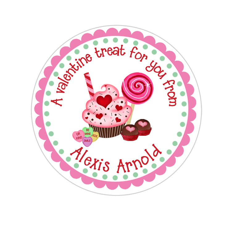 Cupcake and Candy Valentines Day Personalized Sticker Valentines Day Stickers - INKtropolis