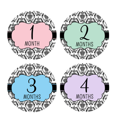 Damask Monthly Baby Stickers