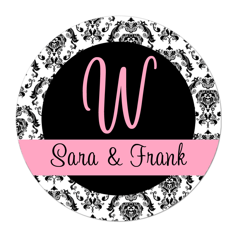 Damask Initial Personalized Sticker Wedding Stickers - INKtropolis