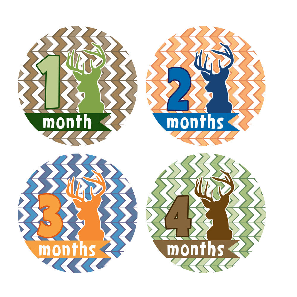 Deer Monthly Baby Stickers onesie sticker - INKtropolis