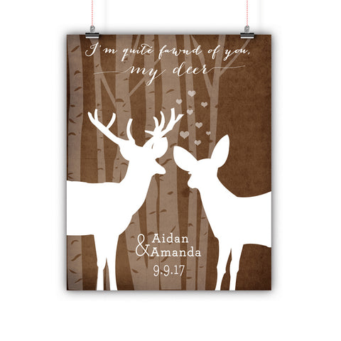 Couples Gift, Boyfriend, Girlfriend, Engagement, Wedding, Deer, Poster, Print Framed or Canvas