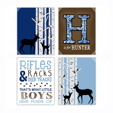 Blue Woodland Deer Hunting Nursery Wall Art