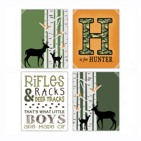 Green Woodland Deer Hunting Nursery Wall Art Decor Poster, Print, Framed or Canvas - Set of 4