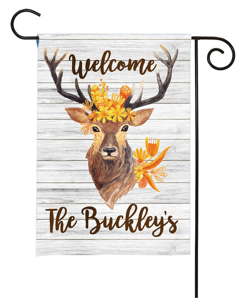 personalized rustic deer yard flag