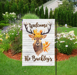 Personalized Garden Flag - Rustic Deer