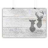 Wedding Guest Book Alternative Poster, Print, Framed or Canvas - Distressed Deer Heads  - 200 Signatures White Washed Wood Background wedding guest book alternative - INKtropolis