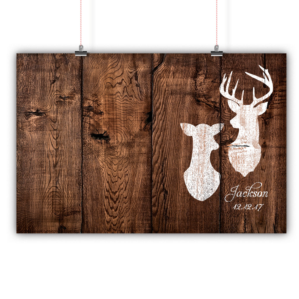 Wedding Guest Book Alternative Poster, Print, Framed or Canvas - Distressed Deer Heads  - 200 Signatures Dark Rustic Wood Background wedding guest book alternative - INKtropolis