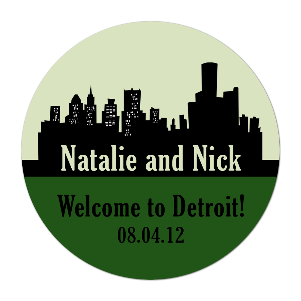 Detroit Skyline Personalized Sticker Wedding Stickers - INKtropolis