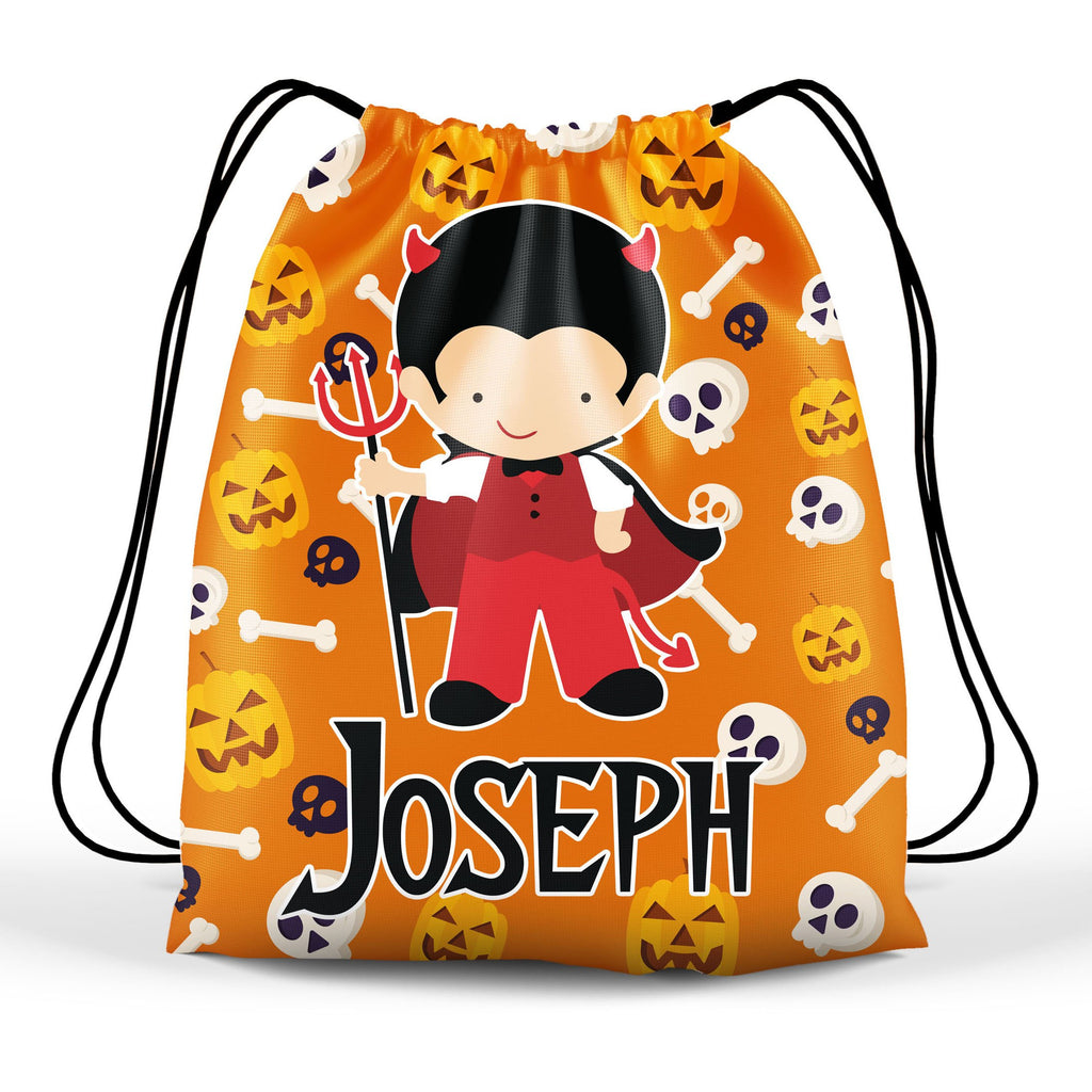 personalized halloween devil boy costume trick or treat bag