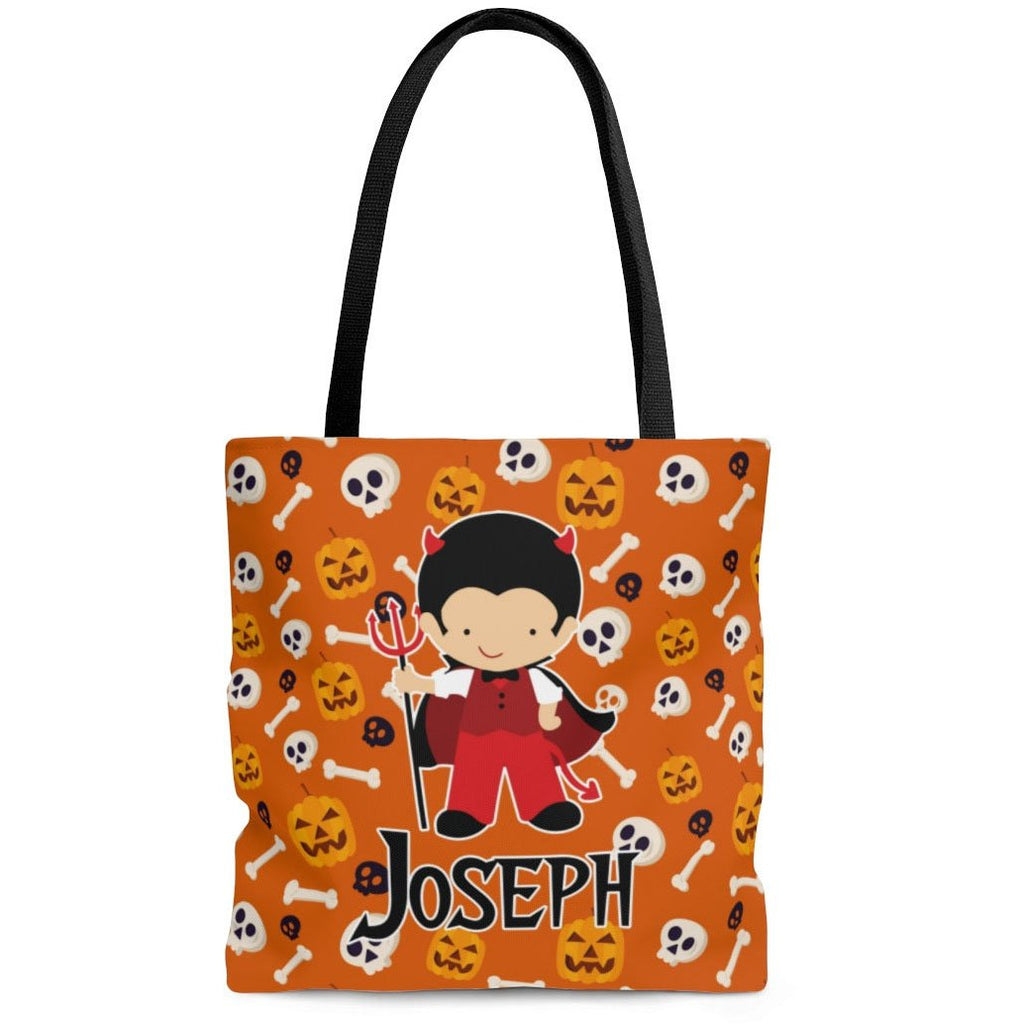personalized devil boy costume halloween trick or treat bag