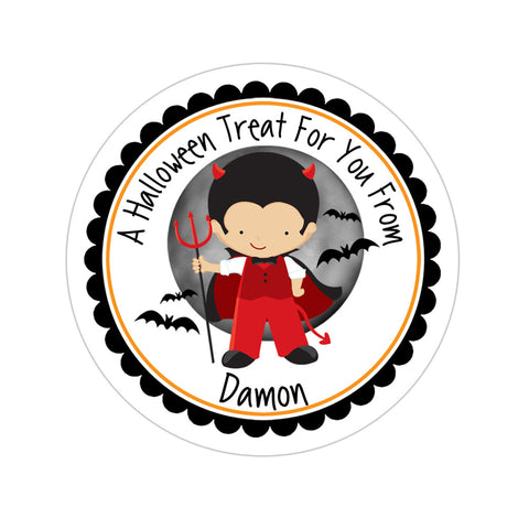Devil Boy Costume Personalized Sticker
