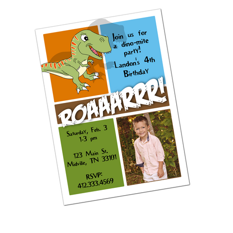 Dinosaur Digital Birthday Invitation