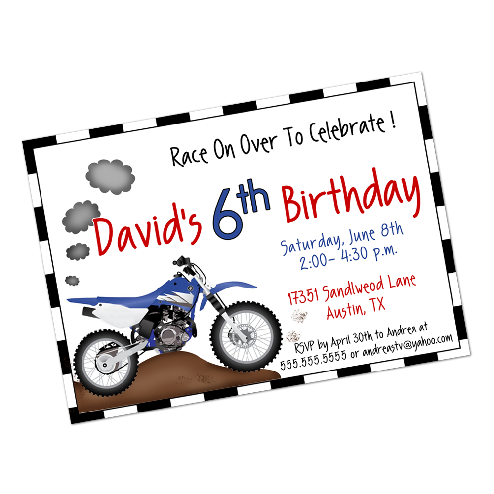 Dirt Bike Digital Invitation Digital Invitations - INKtropolis