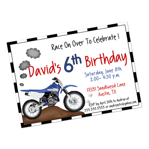 Dirt Bike Digital Birthday Invitation