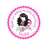 Black Hair Glamor Diva Personalized Sticker Birthday Stickers - INKtropolis
