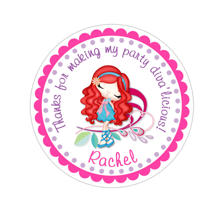 Red Hair Glamor Diva Personalized Sticker Birthday Stickers - INKtropolis