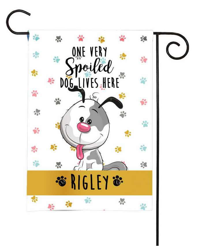 personalized spoiled dog yard flag