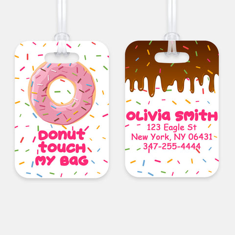 Personalized Donut Luggage Tag, Kids Backpack Tag
