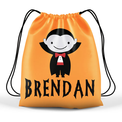 Personalized Halloween Trick Or Treat Bag, Kids Drawstring Bag - Dracula Vampire