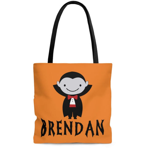 Personalized Halloween Trick Or Treat Bag, Kids Halloween Tote Bag - Dracula Vampire