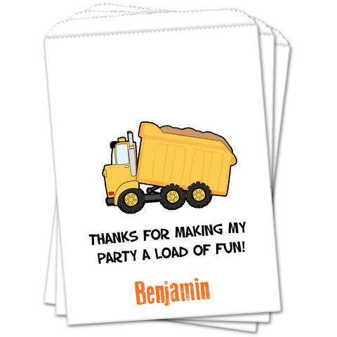 Dump Truck Personalized Birthday Favor Bags