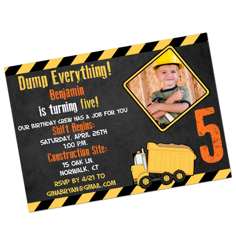 Construction Party Digital Birthday Invitation