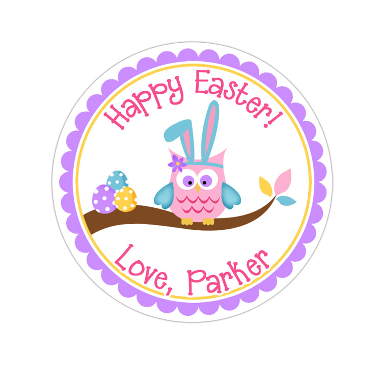 Easter Bunny Owl Personalized Sticker Other Holiday Stickers - INKtropolis