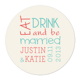 Eat Drink and Be Married Modern Personalized Sticker Wedding Stickers - INKtropolis