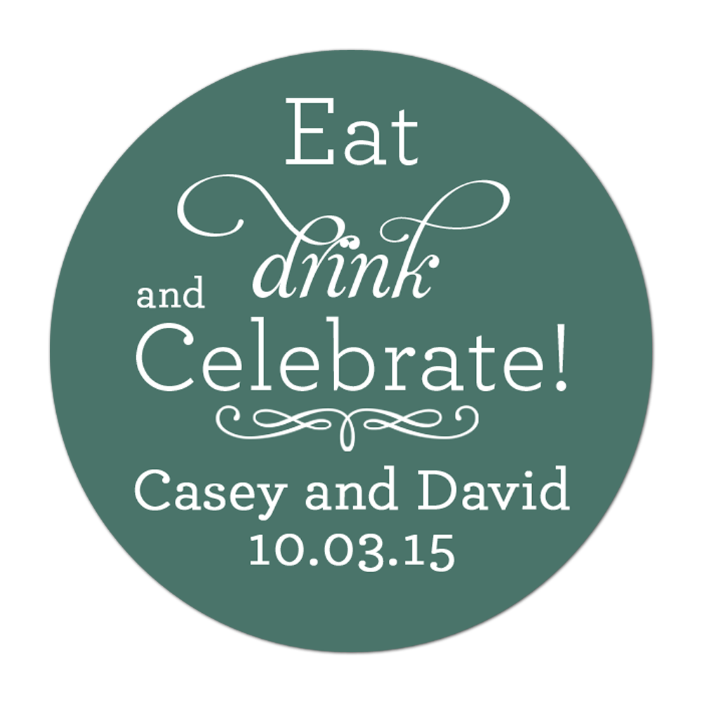Eat Drink and Celebrate Personalized Sticker Wedding Stickers - INKtropolis