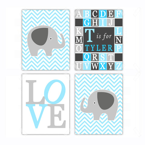 Elephant Love Nursery Wall Art - Set of 4