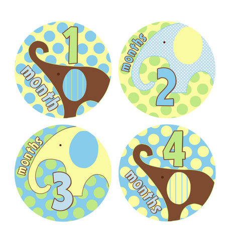 Little Elephants Monthly Baby Stickers