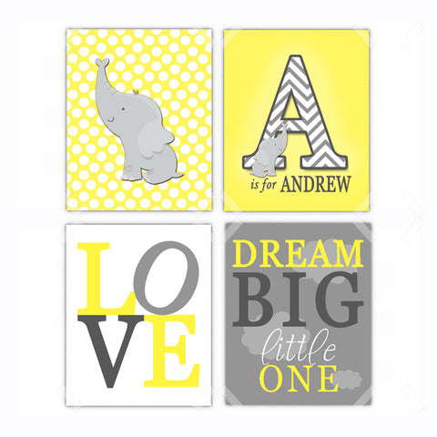 Elephant Dream Big Little One Nursery Wall Art Decor Poster, Print, Framed or Canvas - Set of 4