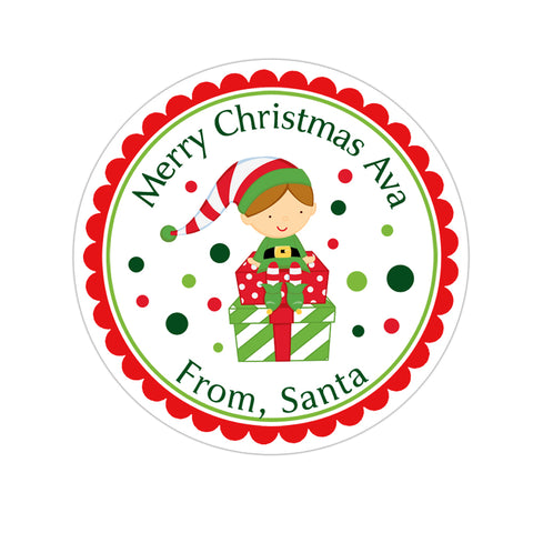 Little Elf Personalized Christmas Gift Sticker
