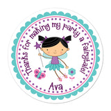 Black Haired Fairy Personalized Sticker Birthday Stickers - INKtropolis