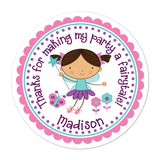 Brunette Haired Fairy Personalized Sticker Birthday Stickers - INKtropolis