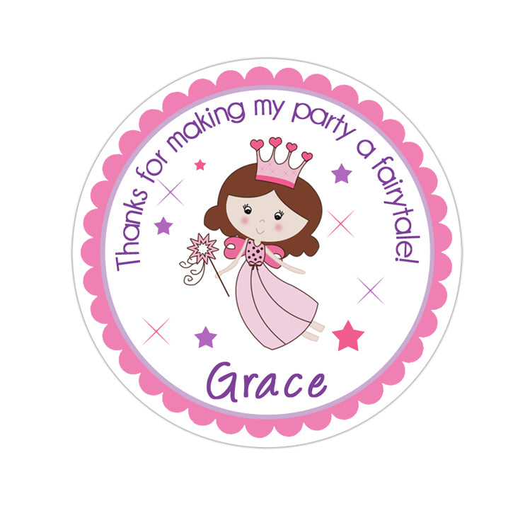 Fairy Princess Personalized Sticker Birthday Stickers - INKtropolis