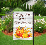 Personalized Garden Flag - Fall Autumn Pumpkin Leaves