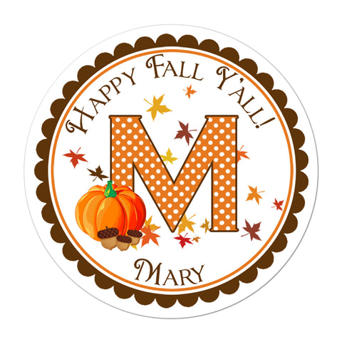 Fall Pumpkin Monogram Personalized Fall Sticker