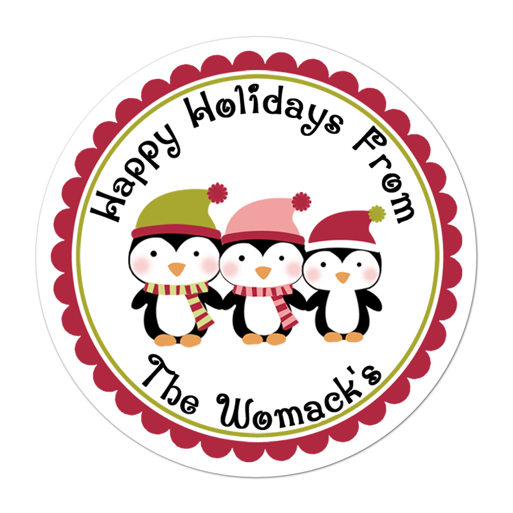 Family of Penguins Personalized Sticker Christmas Stickers - INKtropolis