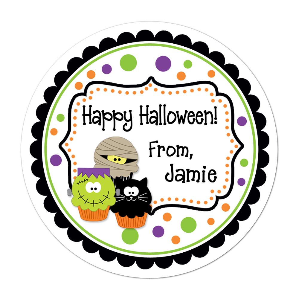 Halloween Cupcakes Fancy Frame Personalized Sticker Halloween Stickers - INKtropolis