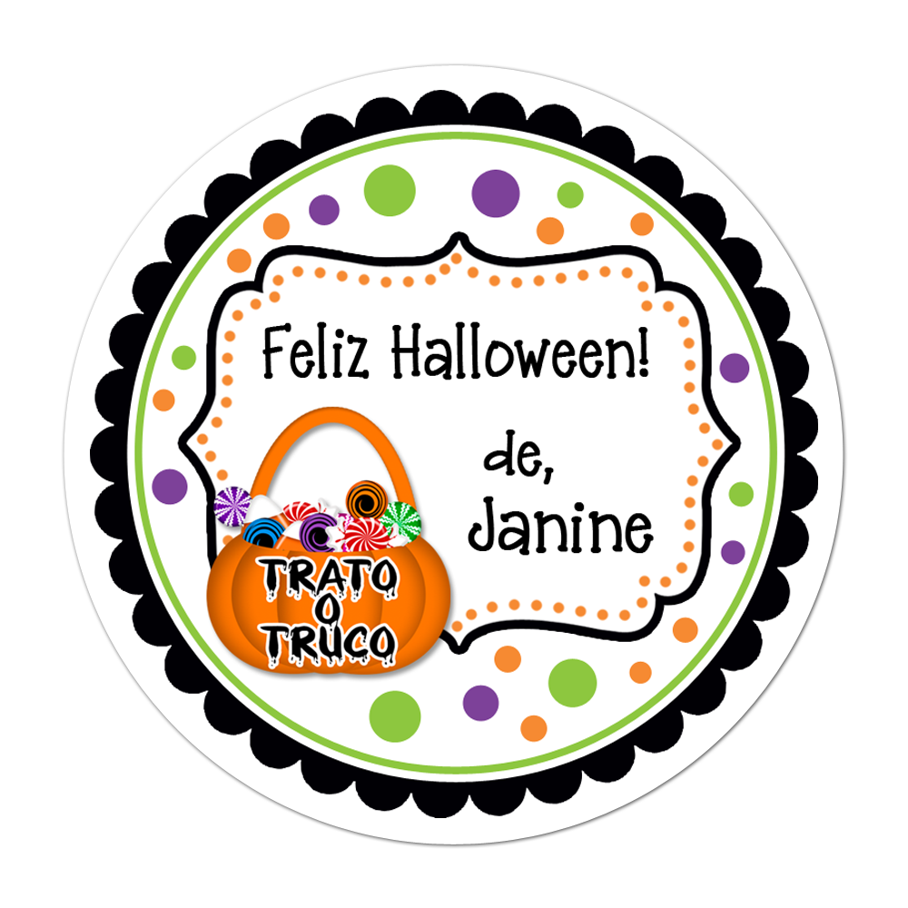 Trato O Truco Fancy Frame Personalized Sticker Halloween Stickers - INKtropolis