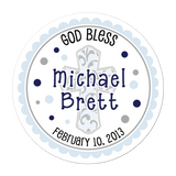 Blue Filigree Cross Personalized Sticker Birthday Stickers - INKtropolis
