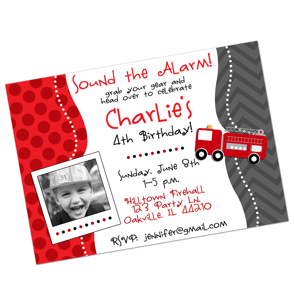 Firetruck Digital Invitation Digital Invitations - INKtropolis