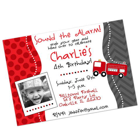 Fire Engine Digital Birthday Invitation