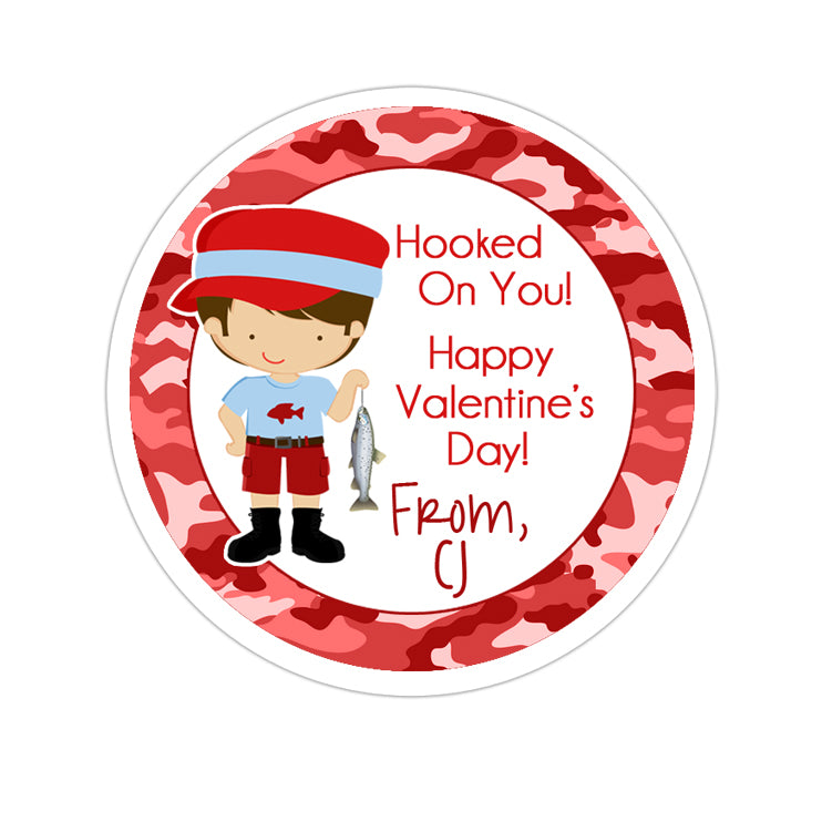 Fisherman Valentines Day Personalized Sticker Valentines Day Stickers - INKtropolis