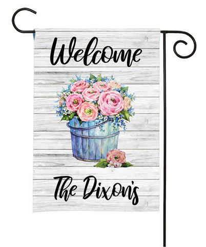 Personalized Garden Flag - Bucket Of Roses
