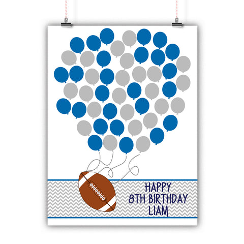 Personalized Birthday Guest Book Alternative - Football Balloons - Customized Poster, Print, Framed or Canvas, 50 Signatures