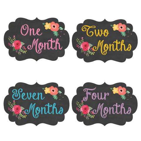Chalkboard Floral Fancy Frame Monthly Baby Stickers - Frame Shaped