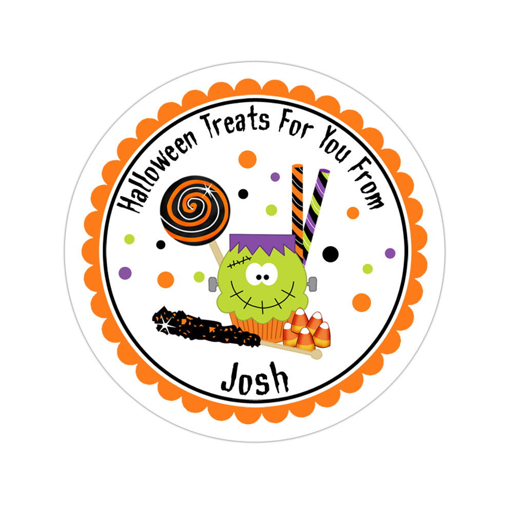 Halloween Cupcake And Candy Personalized Sticker Halloween Stickers - INKtropolis